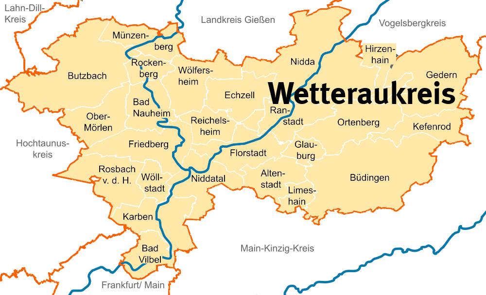 Kartographischer Ausschnitt der versorgten Region Wetterau SAPV-Team Palliativ Pro